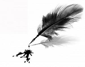 4058879-tache-d-39-encre-noire-et-plume-sur-fond-blanc-isol